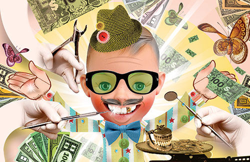 "John Webster illustration for ""Million-dollar Smile"" in the Winter 2011 issue of The Positive Side magazine."