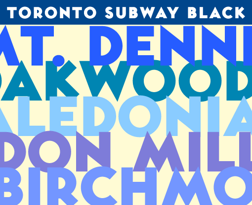 Toronto Subway Black uppercase sample