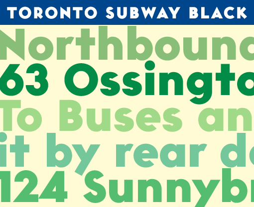Toronto Subway Black upper and lowercase text sample